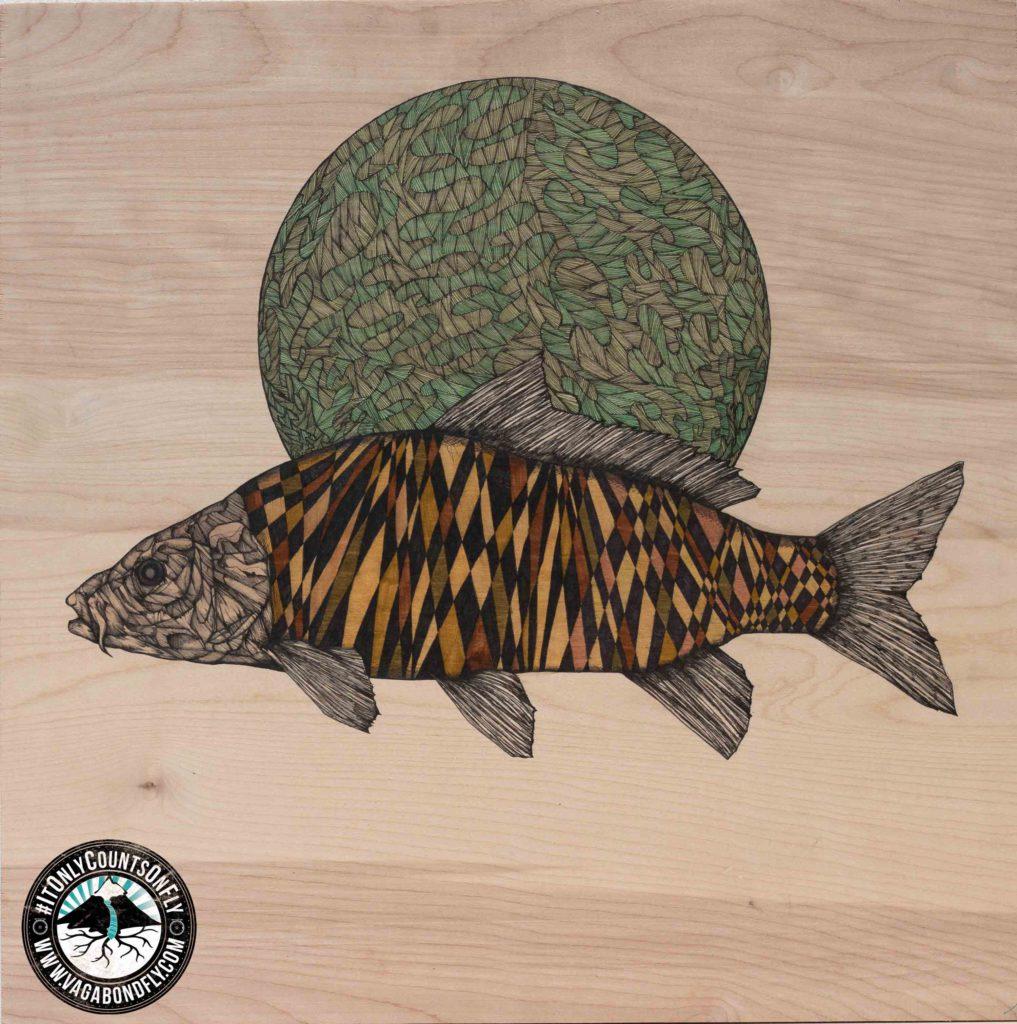 "Planet Carp | 2015 | 24"" x 24"" | Mixed media on wood panel"