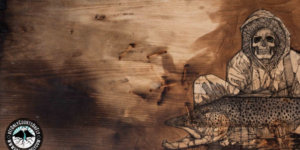 "Creeper of MKE | 2015 | 36"" x 20"" | Mixed media on charred wood panel"